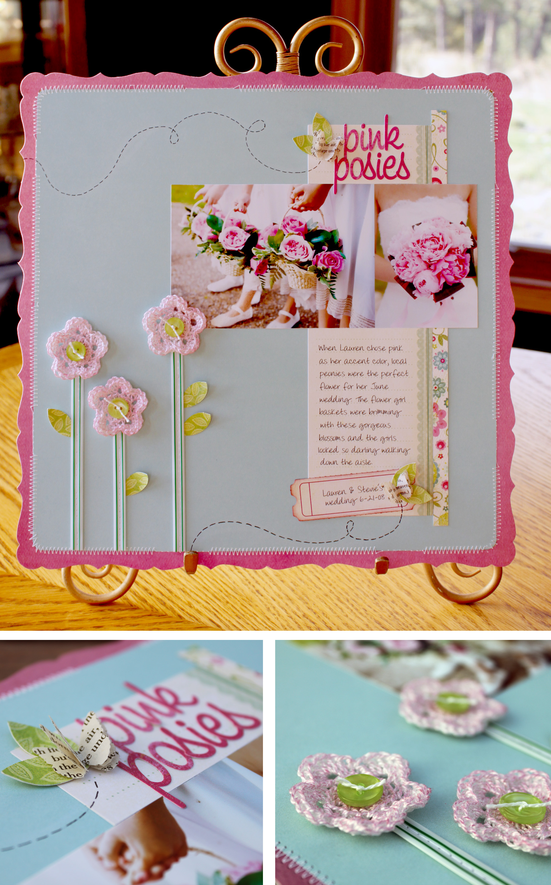 Scrapbook ideas with flowers - Pink Posies