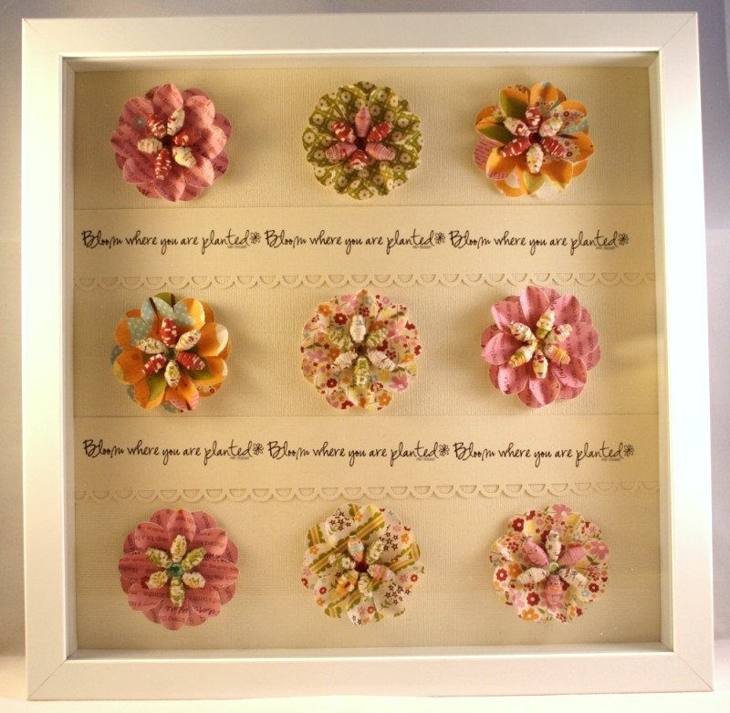 9x9 rolled flower shadowbox frame paper flowers memory | Flower ... | 781x800