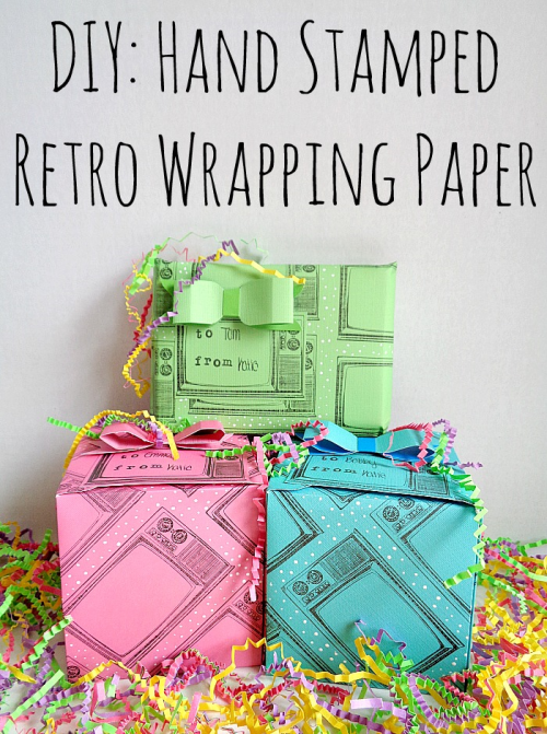 DIY Hand Stamped Retro Wrapping Paper