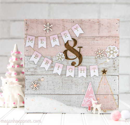 i had such fun working with the white wood panel from jillibean soup inspired by the my minds eye chipboard letter stickers i used which have white and