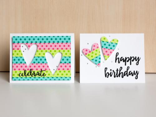 Washi cards hearts