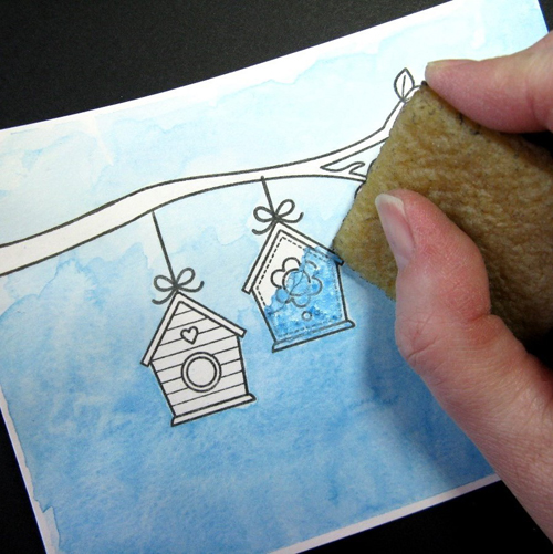 A Bird's Life Watercolor Masking Card-Tutorial4