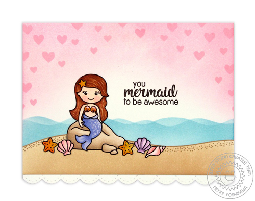Magical Mermaids Pink Heart Card-Blog