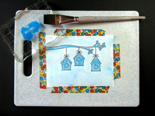 A Bird's Life Watercolor Masking Card-Tutorial3