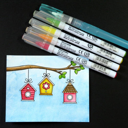 A Bird's Life Watercolor Masking Card-Tutorial5