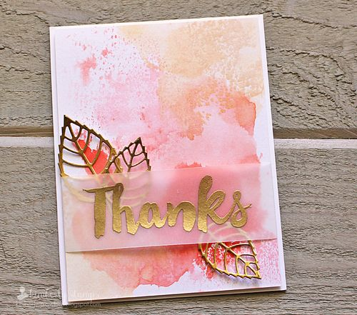 Thanks faux watercolor card Kimberly Crawford